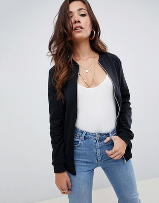 ASOS DESIGN lounge ultimate jersey bomber jacket in black