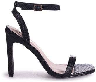 Linzi BOBBIE - Black Lizard Slim Heeled Sandal With Square Toe