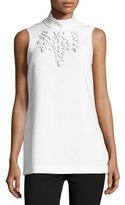Trina Turk Jaya Sleeveless Embellished Mock-Neck Top, White