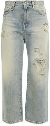 R 13 Cheryl Distressed High-rise Straight-leg Jeans