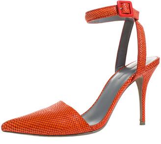 Alexander Wang Orange Embossed Leather Ankle Strap Emma Sandals 38.5