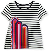 Burberry Striped Jersey Rainbow Jersey Tee, Navy/Black/White, Size 4-14