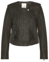 Joie Zeno Fringed Leather Biker Jacket