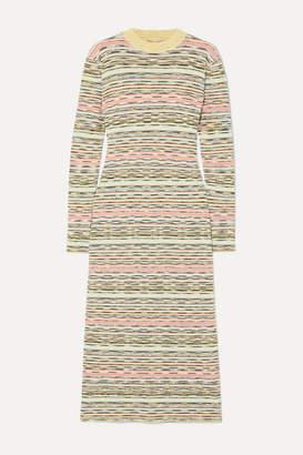 Missoni Striped Ribbed Wool Midi Dress - Green