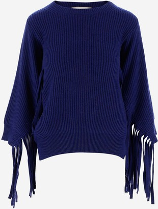 Stella McCartney Blue Rib-Knit Fringed Women's Jumper