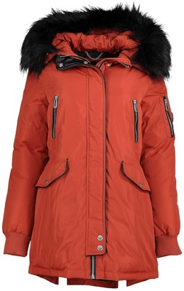 Noize Marly Faux Fur Trim Quilted Parka