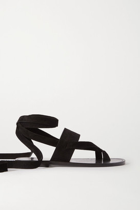Saint Laurent Culver Nu Pieds Suede Sandals - Black