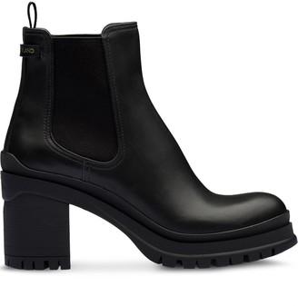 Prada Chunky Heel Ankle Boots