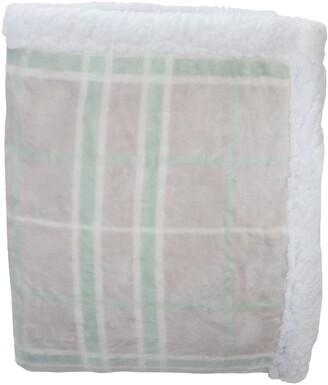Kensie Plaid Hooded Reversible Throw Blanket - Seafoam/Grey