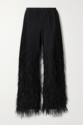 Cult Gaia Karis Feather-embellished Satin-crepe Straight-leg Pants - Black
