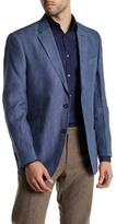 Tommy Hilfiger Blue Woven Two Button Notch Lapel Linen Jacket