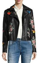 Bagatelle Painted Floral Leather Jacket w/ Embroidered Patches, Black Pattern
