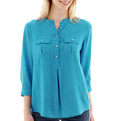 JCPenney STYLUS Stylus 3/4-Sleeve Popover Peasant Top