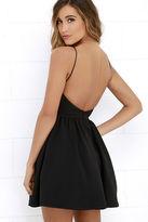 LuLu*s Chic Freely Black Backless Skater Dress