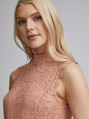 Dorothy Perkins Lace Pleat Midi Dress - Nude