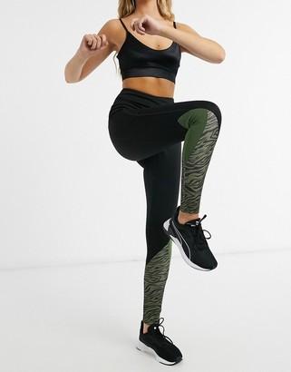 South Beach fitness calf panel print legging in khaki tiger