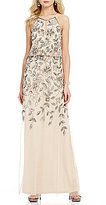 Adrianna Papell Floral Beaded Halter Sleeveless Gown