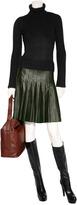 Salvatore Ferragamo Forest Pleated Leather Skirt
