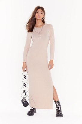 Nasty Gal Slit or Miss Ribbed Maxi Dress