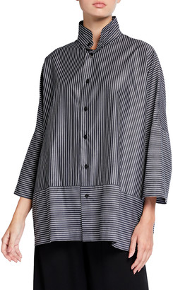 eskandar Paneled-Edge Slope-Shoulder Shirt