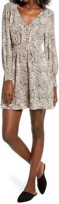 BB Dakota Leopard Print Smocked Long Sleeve Minidress