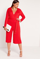 Missguided Plus Size Jersey Wrap Plunge Romper Red