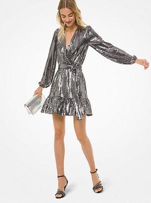 Michael Kors Mirror Dot Matte-Jersey Crossover Dress