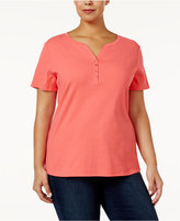 Karen Scott Plus Size Cotton Henley T-Shirt, Only at Macy's