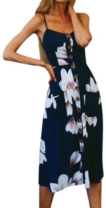 Daylin Women Girl Fashion V-Neck Printing Buttons Off Shoulder Sleeveless Princess Dress (M