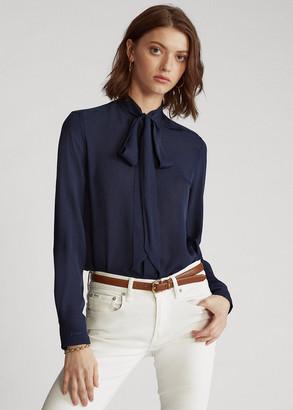 Ralph Lauren Georgette Tie-Neck Shirt