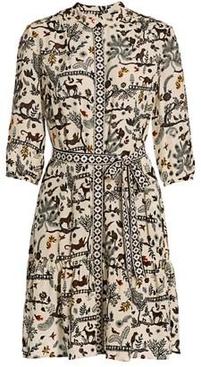 Saloni Tyra Print Silk Shirtdress