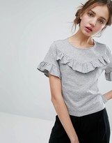 Monki Ruffle Detail T-Shirt
