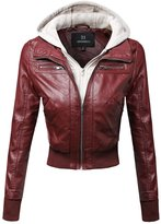 Awesome21 Faux Leather Bomber Military Style Hooded Jacket Size S