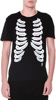 Alexander McQueen Ribcage-Print Short-Sleeve Jersey T-Shirt, Black