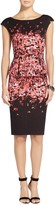 St. John Black Flamingo Degrade Floral Jacquard Knit Peplum Dress