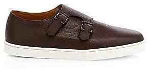 John Lobb Men's Holme Double Buckle Grain Monk Strap Leather Sneaker