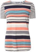 Dorothy Perkins Womens Grey And Coral Stripe T-Shirt- Grey