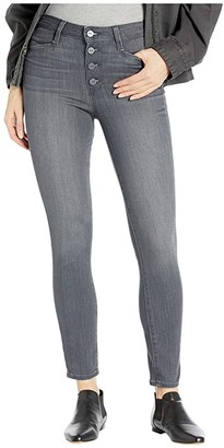 Paige Hoxton Ankle w/ Exposed Buttonfly and Joxxi Pockets in Dusky Grey (Dusky Grey) Women's Jeans