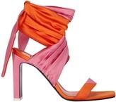 ATTICO The Paris Satin Colorblock Wrap Sandals