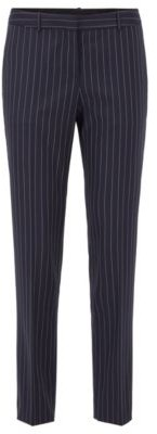 HUGO BOSS Regular Fit Pants In Traceable Stretch Wool With Pinstripe - Patterned