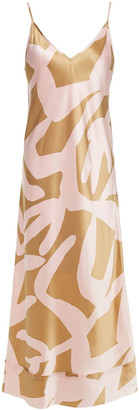 Lee Mathews Bella Printed Silk-satin Slip Dress