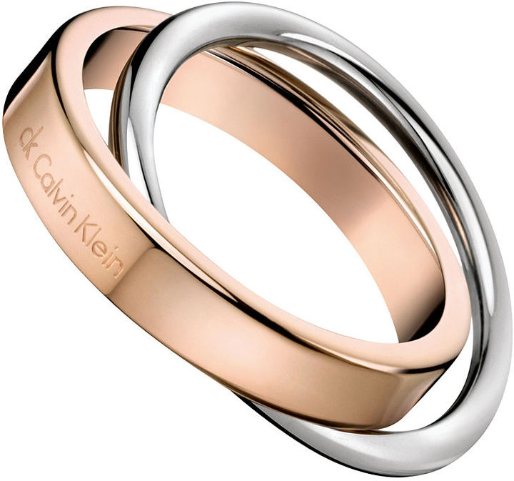 CK Calvin Klein Ring, Two-Tone Stainless Steel Linked Ring