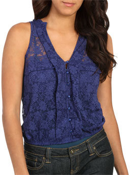 Wet Seal WetSeal Elastic Bottom Lace Tank Green