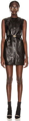 Gucci Leather Mini Dress in Black | FWRD