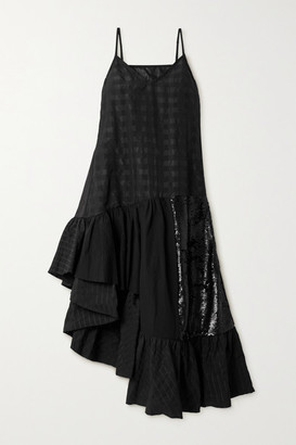 Marques Almeida Rem'ade By Patchwork Cotton-seersucker, Poplin And Sequined Tulle Dress - Black