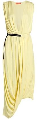Altuzarra Calla Draped Deep V-Neck Dress