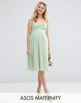 Asos WEDDING Ruched Bandeau Midi Dress