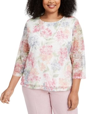 Alfred Dunner Plus Size Primrose Garden Lace Knit Blouse