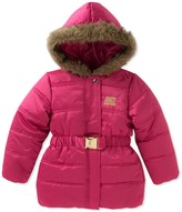 Juicy Couture Pink Puffer Faux Fur Trim Hooded Jacket (Little Girls)