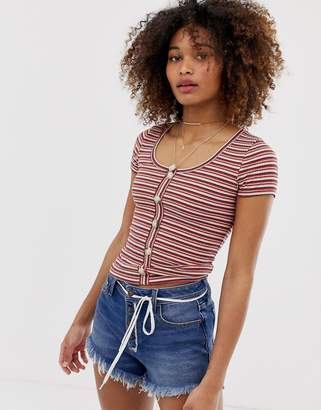 Hollister henley t-shirt with button front in stripe-Red